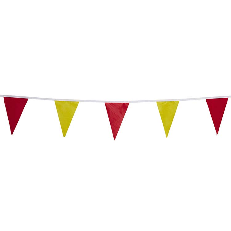 Guirlande tissu triangle rouge et jaune