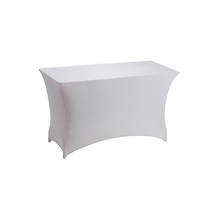 Housse stretch blanc pour table pliante rect. 122 x 76 cm