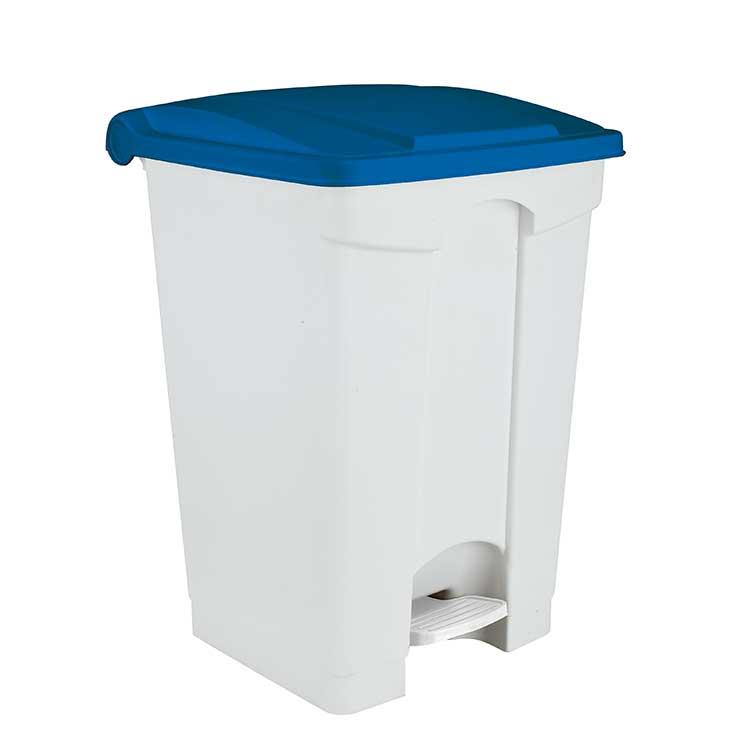 Conteneur à pédale blanc 70 litres - couvercle bleu