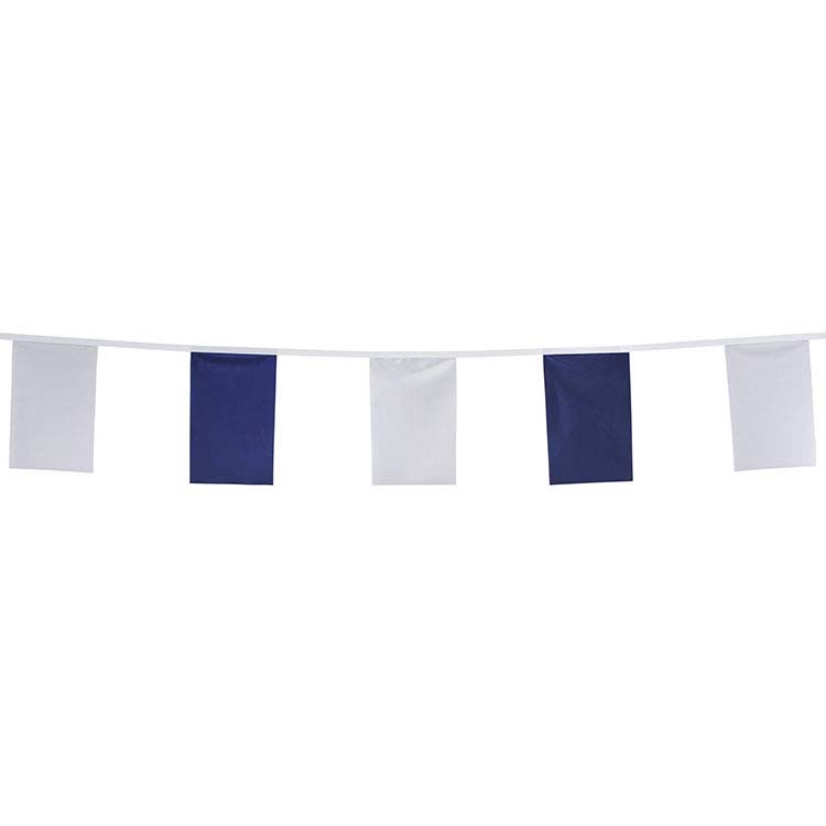 Guirlande tissu fanions blanc et bleu