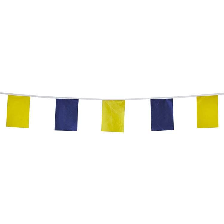 Guirlande tissu fanions bleu et jaune