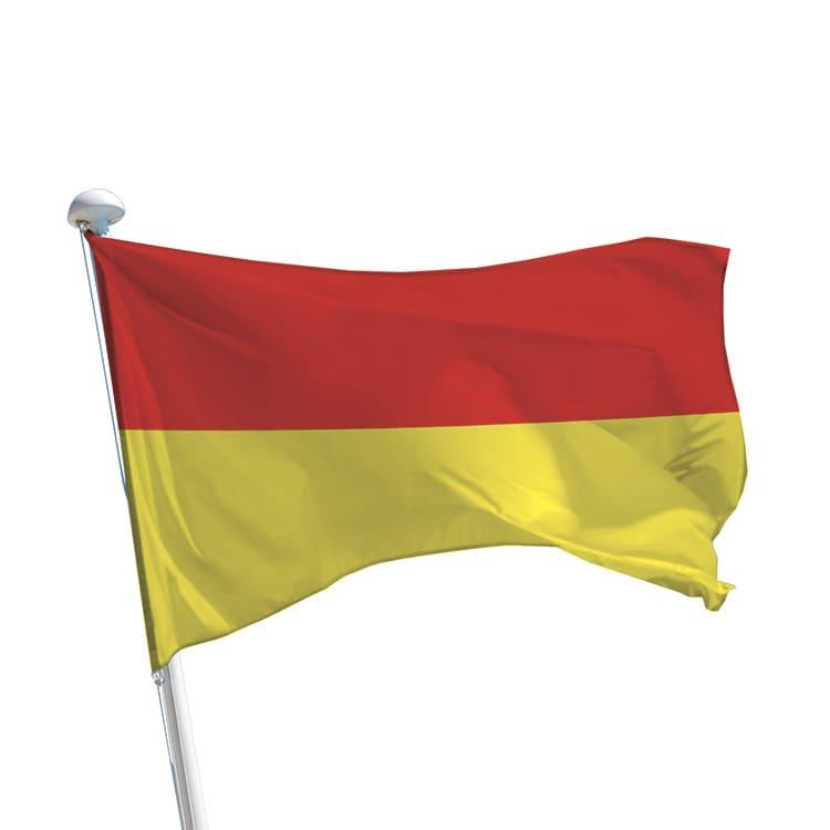 Drapeau baignade à bandes rouge/jaune
