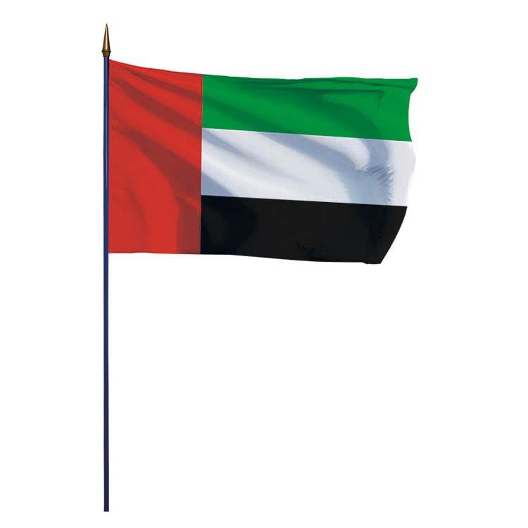 Drapeau Emirats Arabes Unis sur hampe