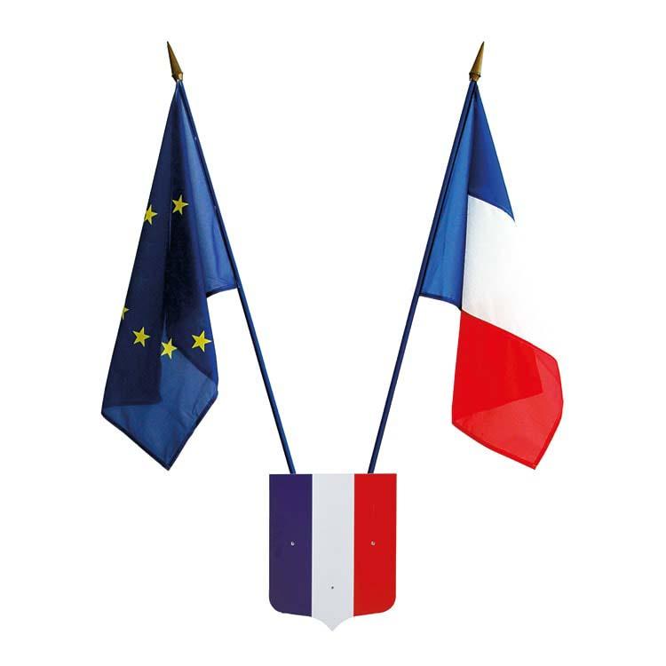 Kit drapeau français et européen pour les écoles sans devise