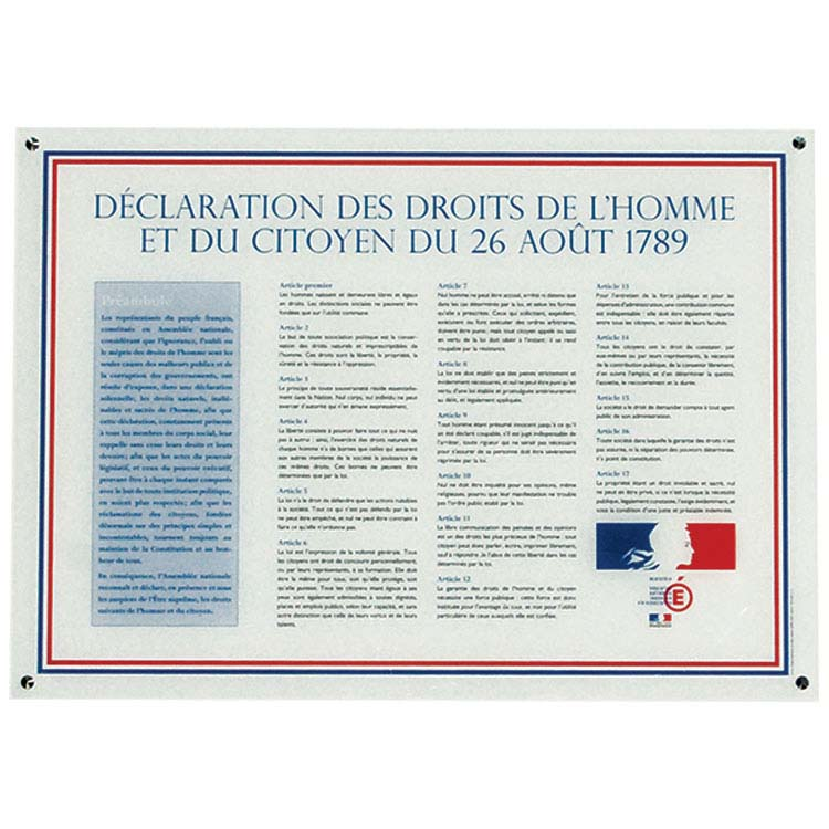 Plaque en plexiglass déclaration des droits de l'Homme