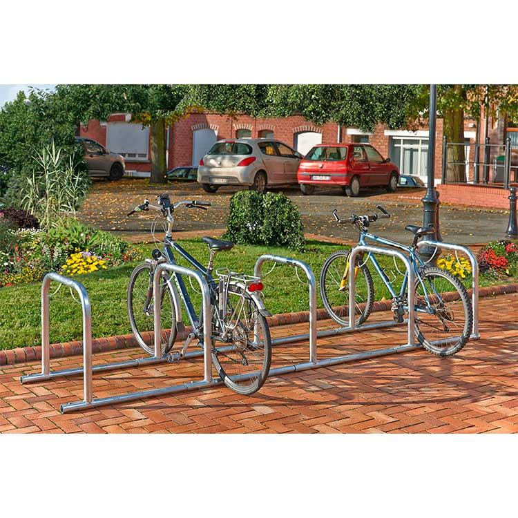 Arceaux pour vélos en ligne 5 cycles avec 2 roues
