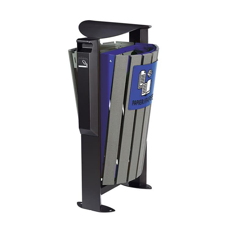 Support sac-poubelle Arkea Etik Gris/bleu - 2 x 60 L + cendrier