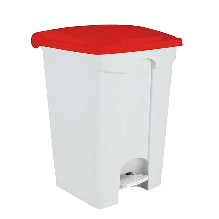 Conteneur à pédale blanc 90 litres - couvercle rouge