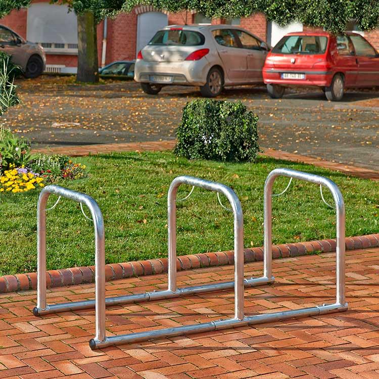 Arceaux pour vélos en ligne 3 cycles sans 2 roues