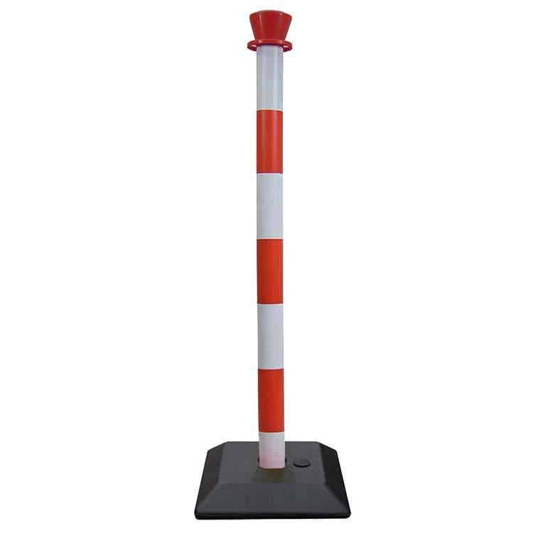 Poteau de balisage en PVC rouge/blanc