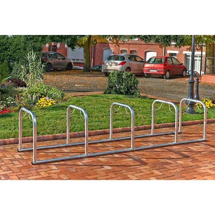 Arceaux pour vélos en ligne 5 cycles nu