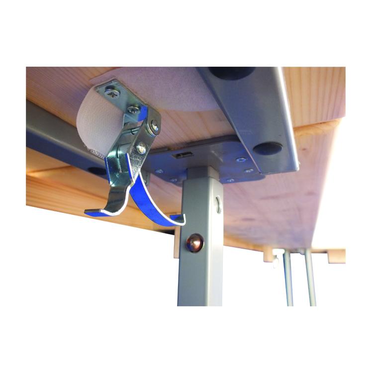 Zoom fixation comptoir bois pour stand comptoir pliant