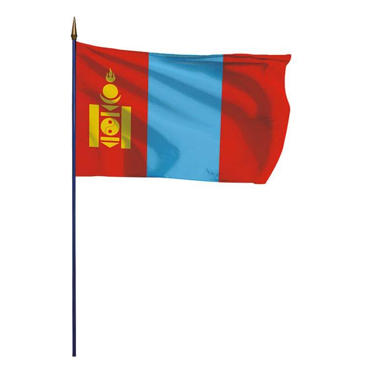 Drapeau Mongolie sur hampe