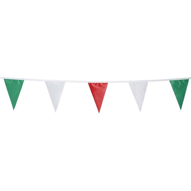 Guirlande tissu flammes vert blanc rouge