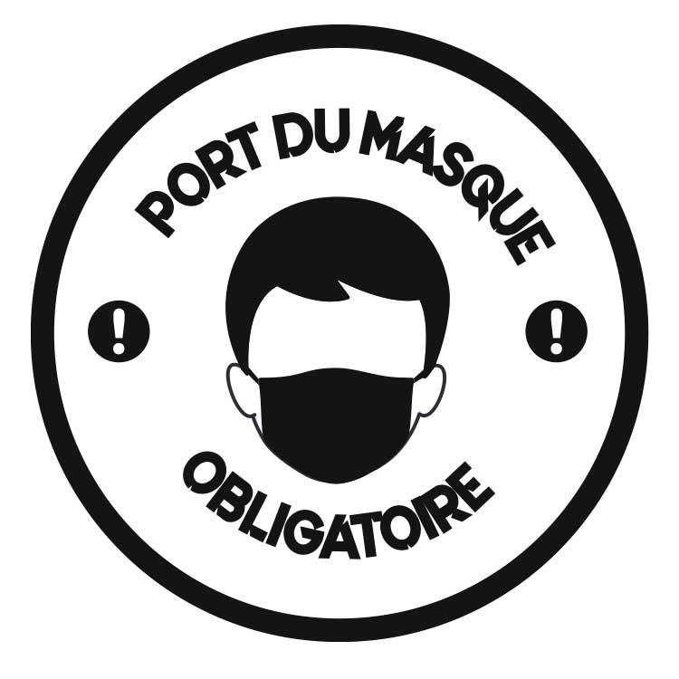 Pochoir marquage au sol Port du masque obligatoire