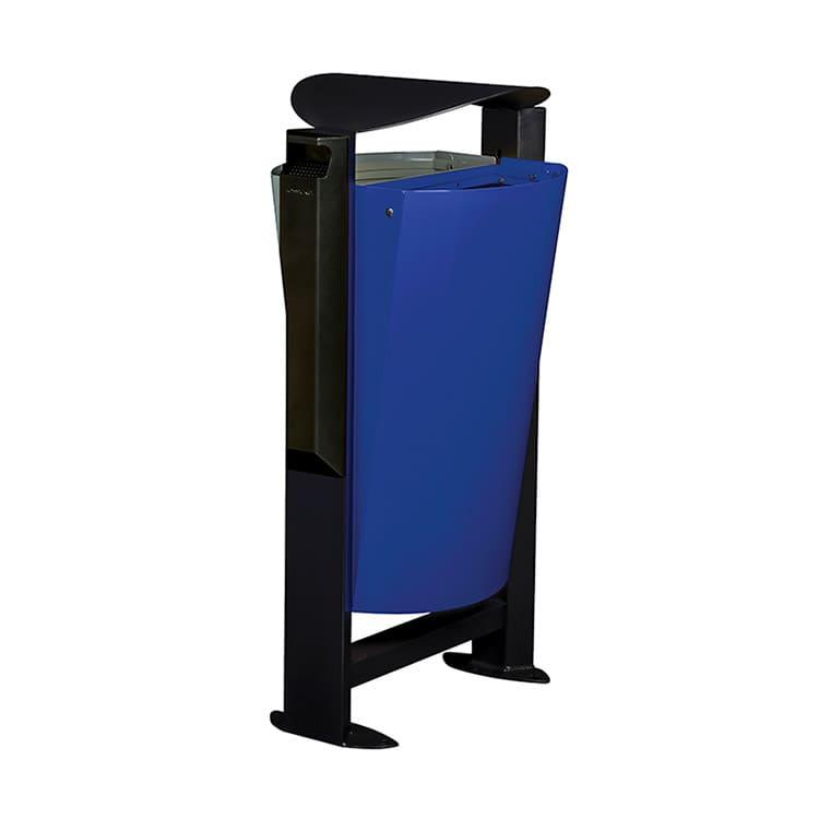 Support sac-poubelle Arkea Métal Gris/bleu - 2 x 60 L + cendrier