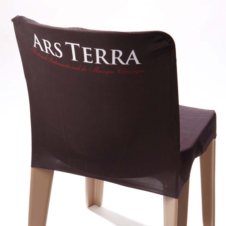 Housses de chaise imprim es pour manifestations doublet - Housse pour dossier de chaise ...
