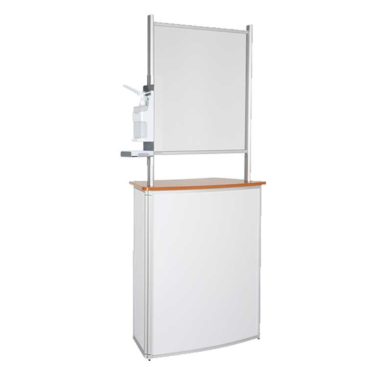 Comptoir accueil avec vitre de protec. + distr. gel - bois