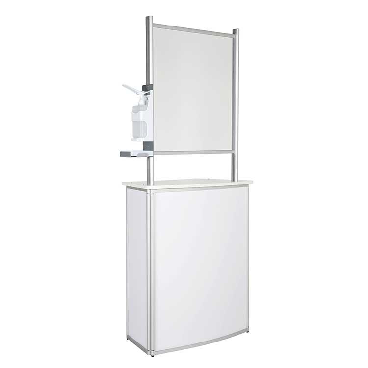 Comptoir accueil avec vitre de protec. + distr. gel - blanc
