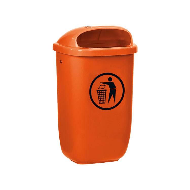 Corbeille Basic murale orange - 50 litres