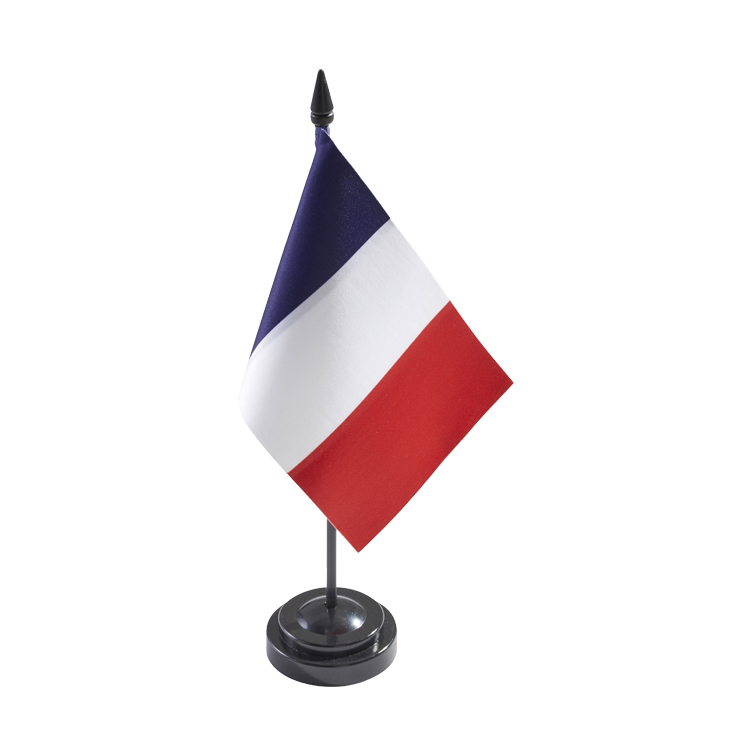 Drapeau france de table en satin