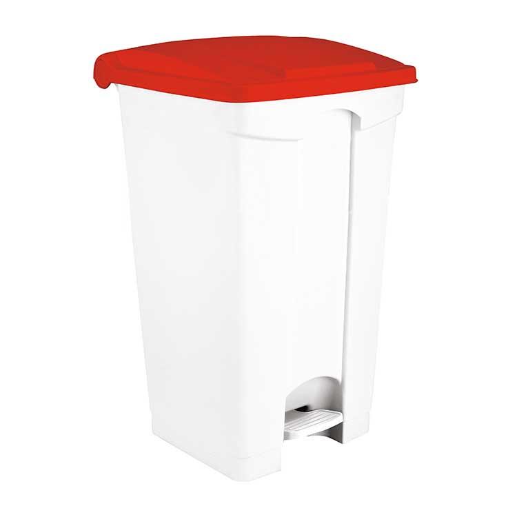 Conteneur à pédale blanc 70 litres - couvercle rouge