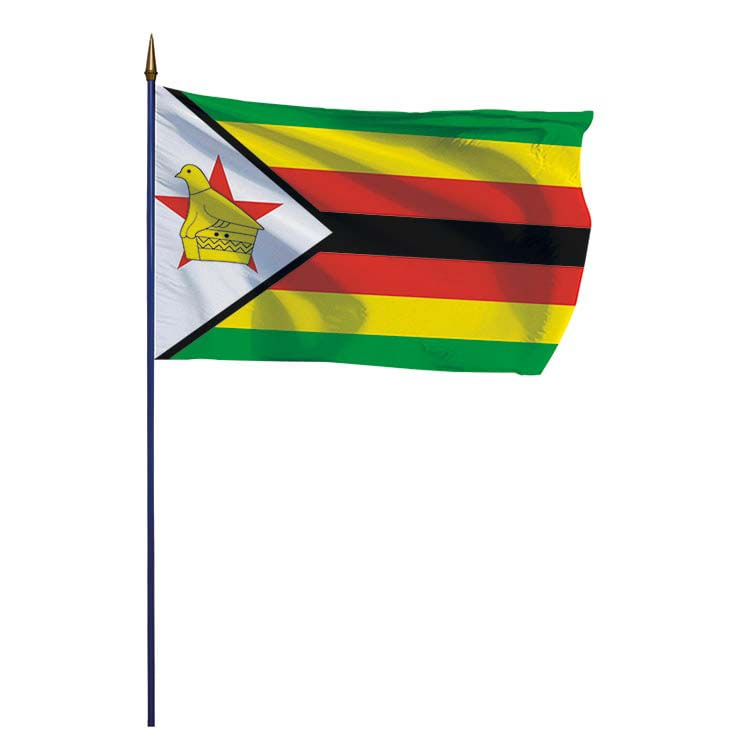 Drapeau Zimbabwe sur hampe