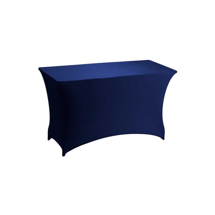 Housse stretch bleu pour table pliante rect. 122 x 76 cm