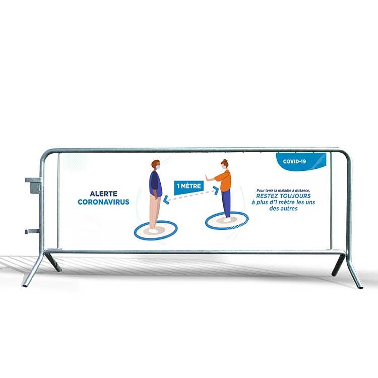 Bâche PVC distanciation sociale pour barrière