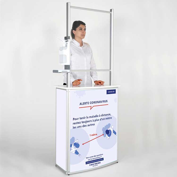Comptoir d'accueil avec vitre de protection - distances physiques