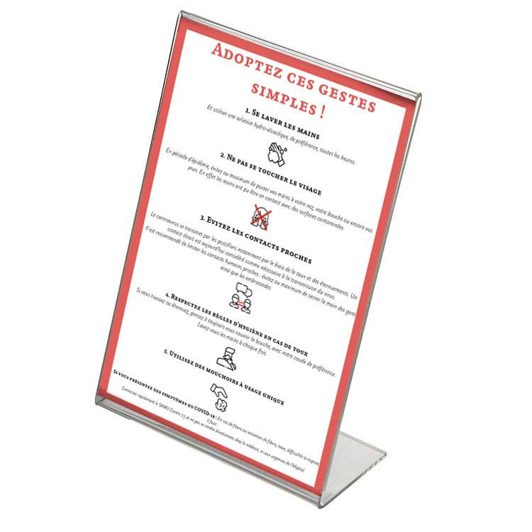 Chevalet porte affiche Plexiglass Coronavirus
