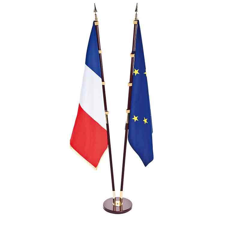 Drapeau français et européens d'intérieur Prestige