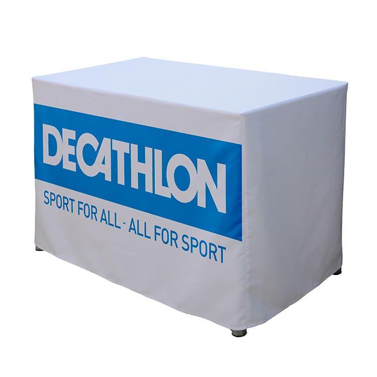 Table comptoir pliante + nappe imprimée décathlon