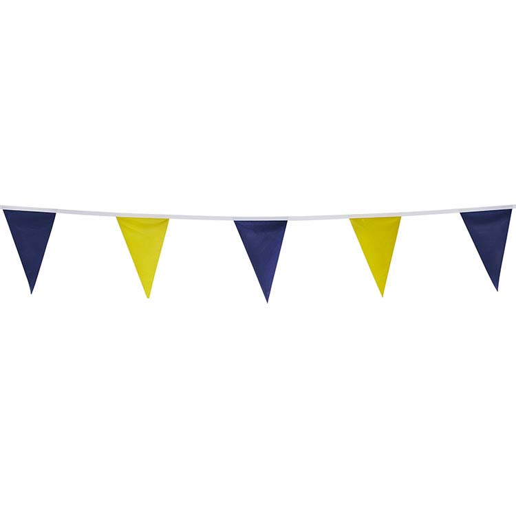Guirlande tissu triangle bleu et jaune