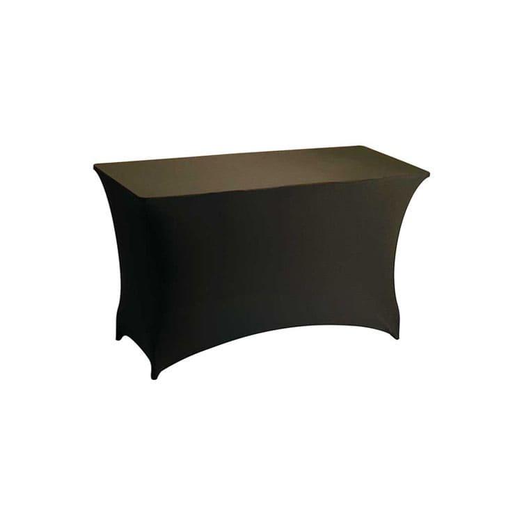 Housse stretch chocolat pour table pliante rect. 122 x 76 cm