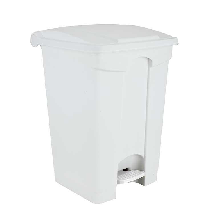 Conteneur à pédale blanc 70 litres - couvercle blanc