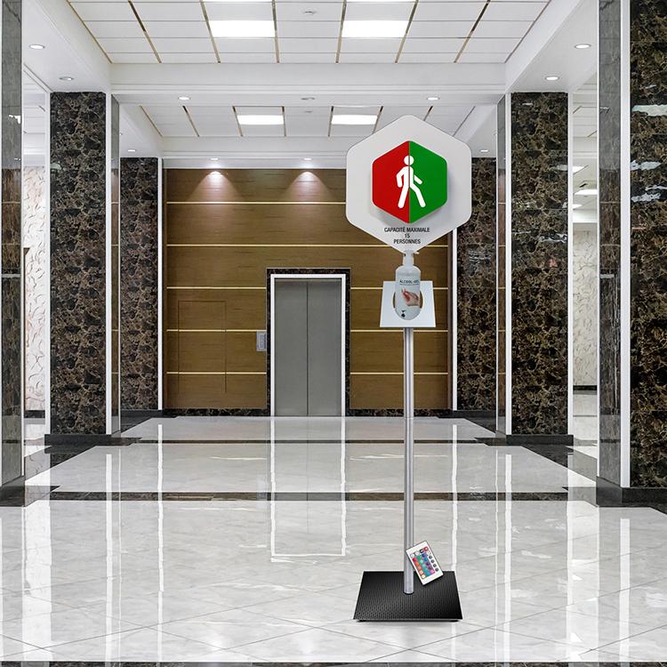 Gestionnaire d'accès sur pied +  support gel hydroalcoolique