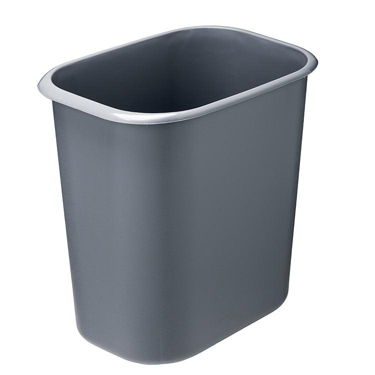 Corbeille plastique rect. anti-feu gris - 14 litres