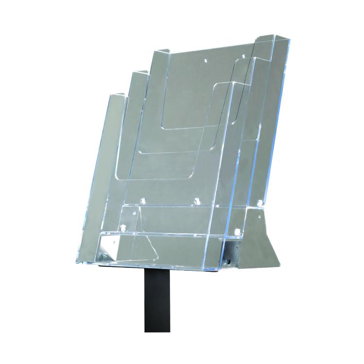 Poteau porte-brochures Triple en plastique transparent