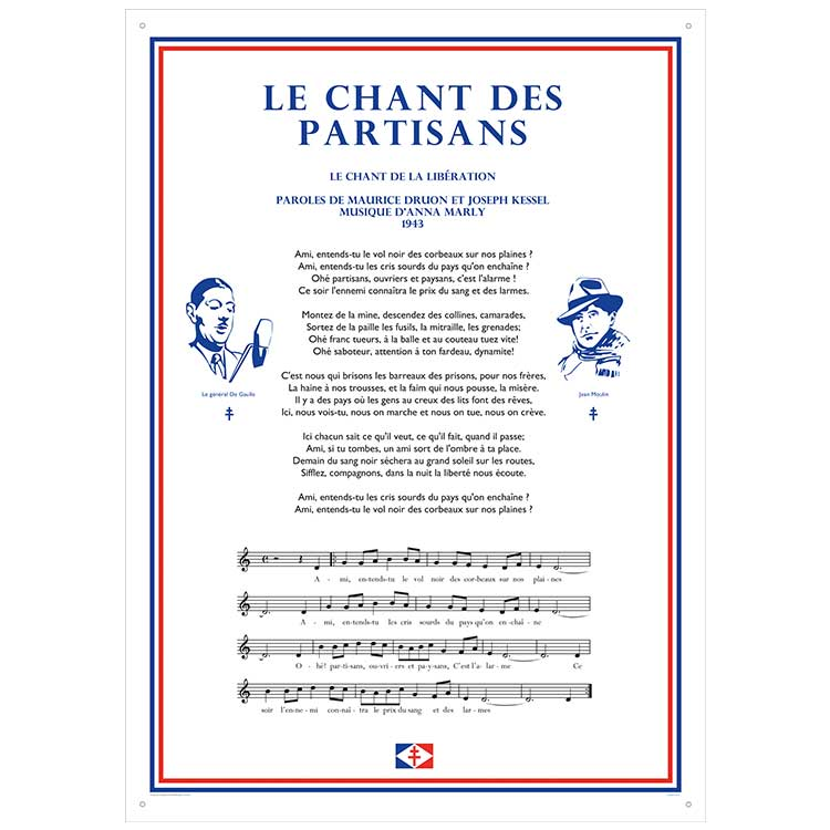 Plaque murale chant des partisans