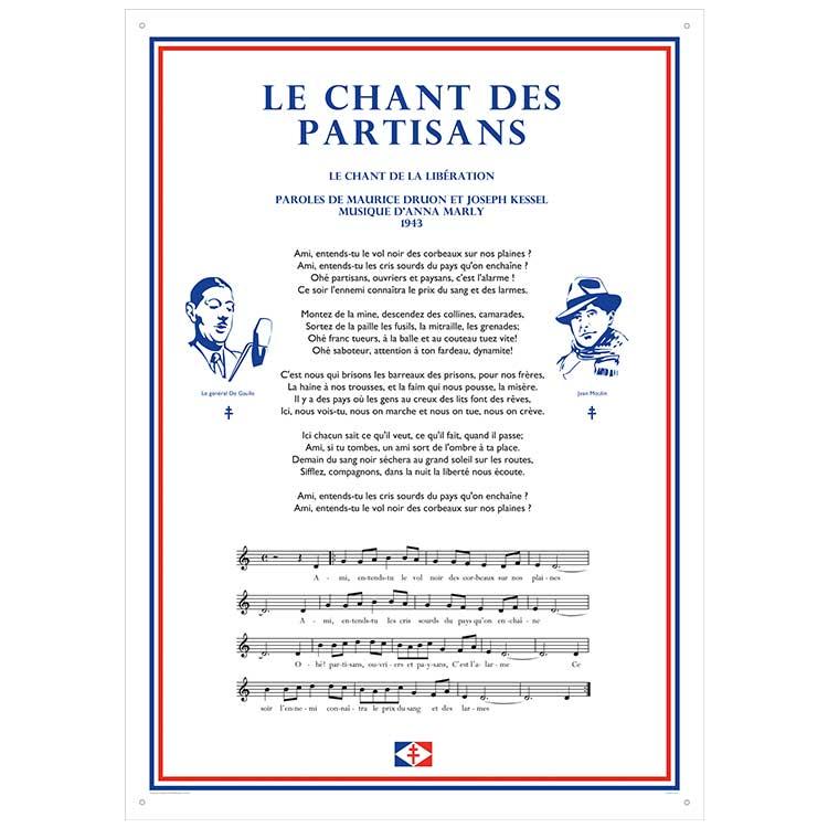 Plaque murale chant des partisans