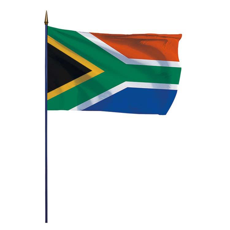 Drapeau Afrique du Sud monté hampe en bois - DOUBLET