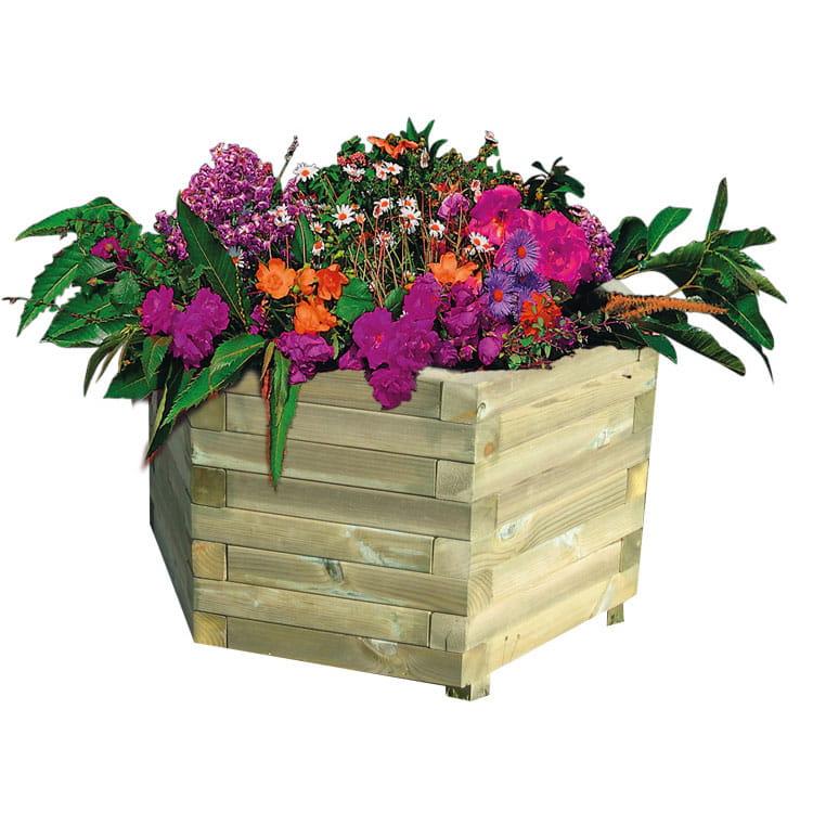 Jardinière en bois hexagonale
