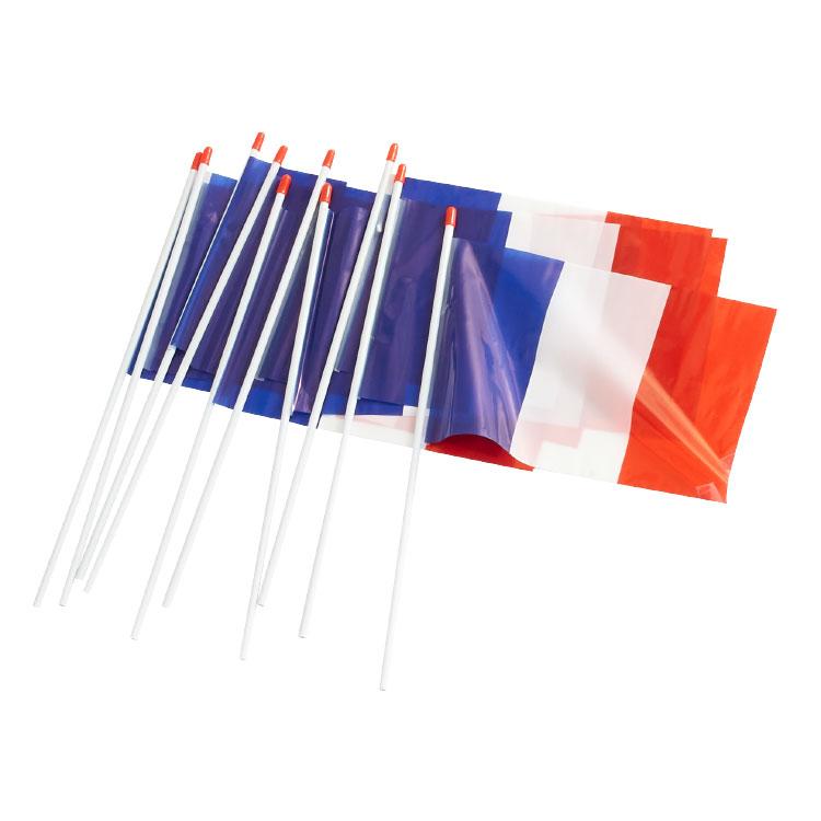 Lot de 10 drapeaux bleu blanc rouge en plastique