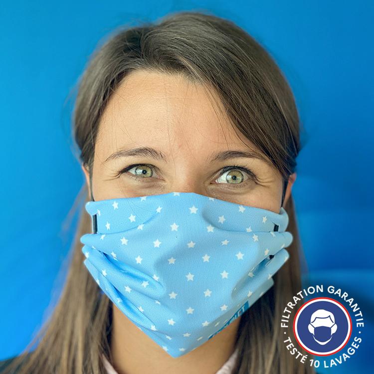 Masque tissu ColleKtor bleu ciel logo