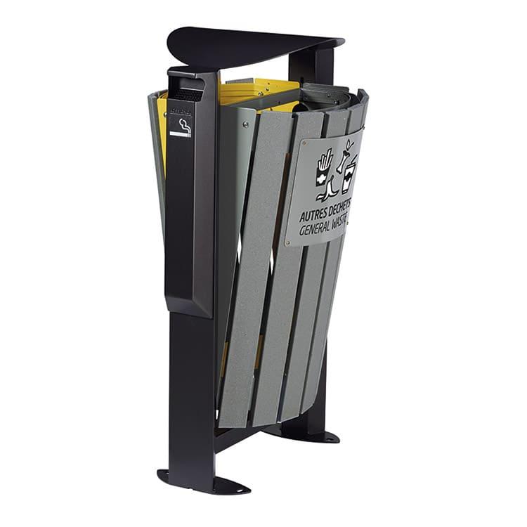 Support sac-poubelle Arkea Etik Jaune/gris - 2 x 60 L + cendrier