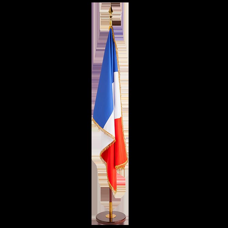 Drapeau France à franges sur socle