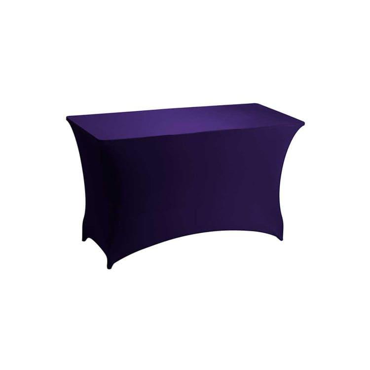 Housse stretch violet pour table pliante rect. 122 x 76 cm