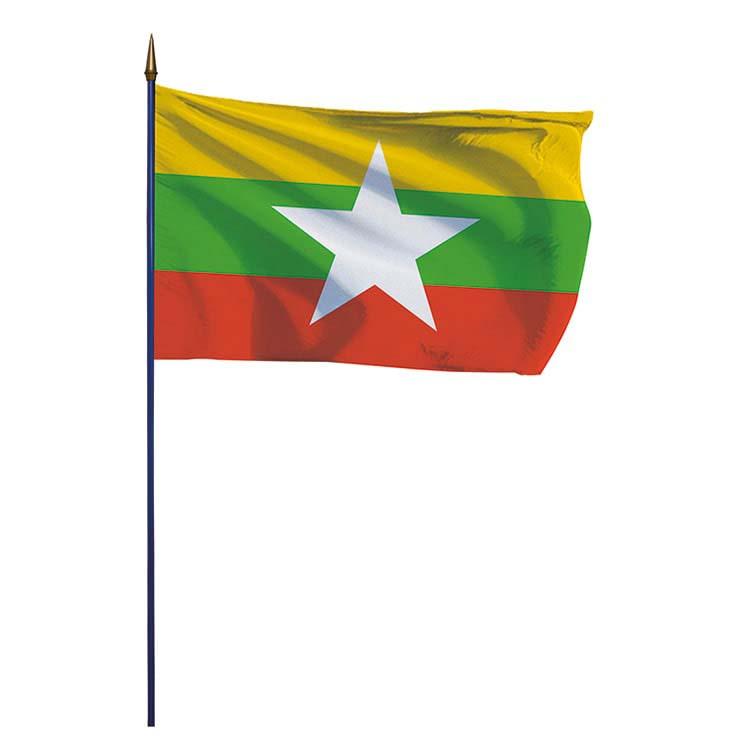 Drapeau Birmanie Myanmar sur hampe
