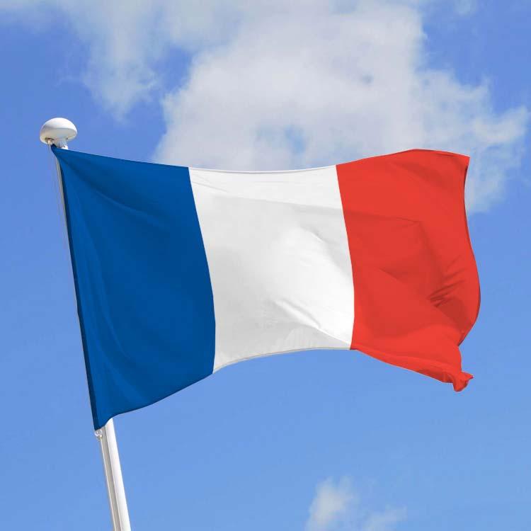 Drapeau français hissé au sommet d'un mât